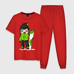 Пижама хлопковая мужская Зеленый парень борд цвета красный — фото 1