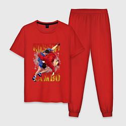Пижама хлопковая мужская National Sambo цвета красный — фото 1