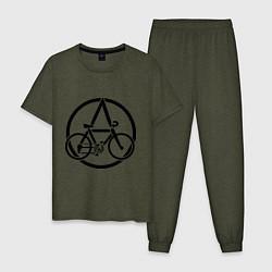 Пижама хлопковая мужская Anarchy Bike цвета меланж-хаки — фото 1