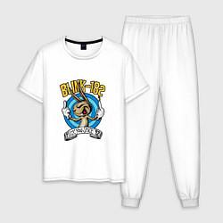 Пижама хлопковая мужская Blink-182: Fuck you цвета белый — фото 1