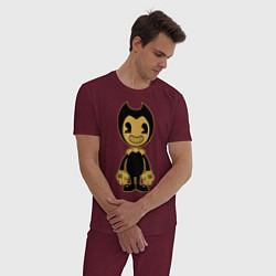 Пижама хлопковая мужская Bendy цвета меланж-бордовый — фото 2