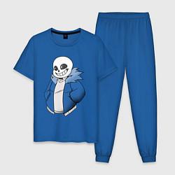 Пижама хлопковая мужская Sans цвета синий — фото 1