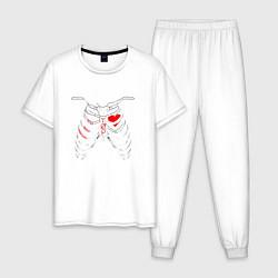 Пижама хлопковая мужская TOP Skeleton цвета белый — фото 1