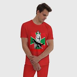 Пижама хлопковая мужская Враг не пройдет цвета красный — фото 2