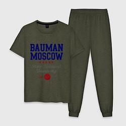 Пижама хлопковая мужская Bauman STU цвета меланж-хаки — фото 1