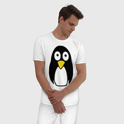 Пижама хлопковая мужская Милый пингвин цвета белый — фото 2