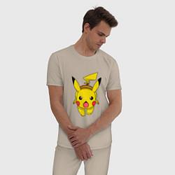 Пижама хлопковая мужская Пикачу цвета миндальный — фото 2