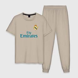 Пижама хлопковая мужская Real Madrid: Ronaldo 07 цвета миндальный — фото 1
