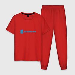 Пижама хлопковая мужская Blockchain цвета красный — фото 1