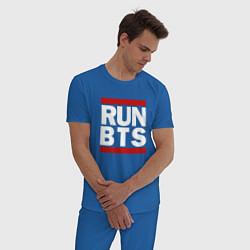 Пижама хлопковая мужская RUN BTS цвета синий — фото 2