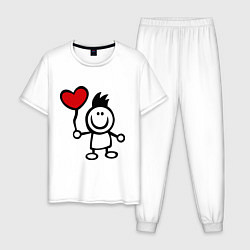 Пижама хлопковая мужская Для влюбленных цвета белый — фото 1