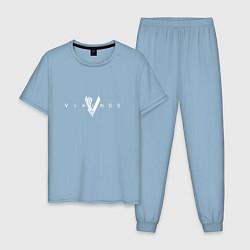 Пижама хлопковая мужская Vikings цвета мягкое небо — фото 1