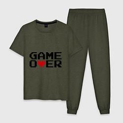 Пижама хлопковая мужская Game over 8 bit цвета меланж-хаки — фото 1