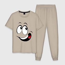 Пижама хлопковая мужская Смайл01 цвета миндальный — фото 1