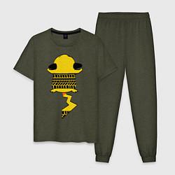 Пижама хлопковая мужская Pikachu crushed цвета меланж-хаки — фото 1