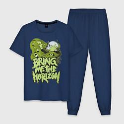 Пижама хлопковая мужская Bring Me The Horizon: Green Girl цвета тёмно-синий — фото 1