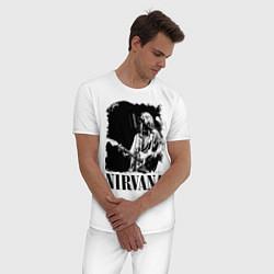 Пижама хлопковая мужская Black Nirvana цвета белый — фото 2