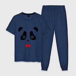 Пижама хлопковая мужская Панда (мужская) цвета тёмно-синий — фото 1