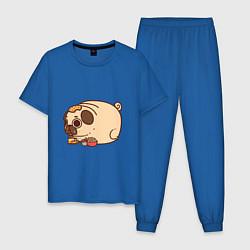 Пижама хлопковая мужская Мопс-свинка цвета синий — фото 1