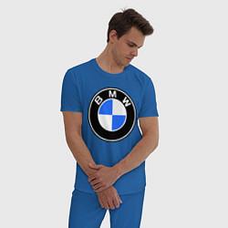 Пижама хлопковая мужская Logo BMW цвета синий — фото 2