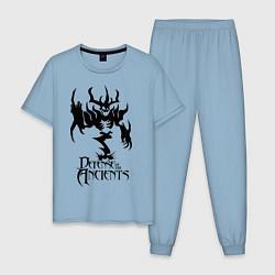 Пижама хлопковая мужская Nevermore Fuck цвета мягкое небо — фото 1