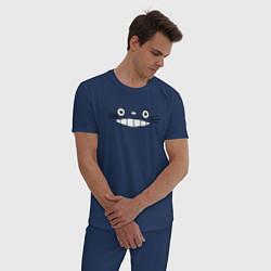 Пижама хлопковая мужская Totoro face цвета тёмно-синий — фото 2