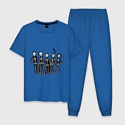 Пижама хлопковая мужская Отбросы-скелеты цвета синий — фото 1