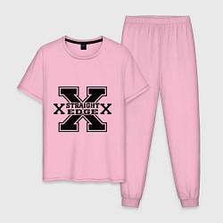 Пижама хлопковая мужская SXe: Streght edge цвета светло-розовый — фото 1