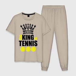 Пижама хлопковая мужская King of tennis цвета миндальный — фото 1