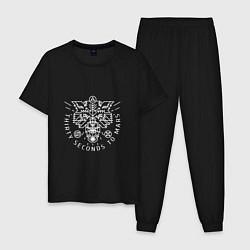 Пижама хлопковая мужская Thirty Seconds to Mars цвета черный — фото 1