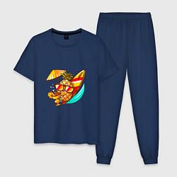 Пижама хлопковая мужская Ананас на отдыхе цвета тёмно-синий — фото 1