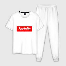Пижама хлопковая мужская Fortnite Supreme цвета белый — фото 1