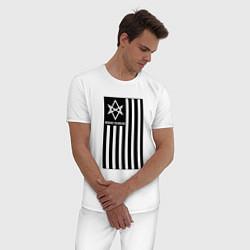 Пижама хлопковая мужская BMTH Flag цвета белый — фото 2