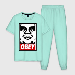 Пижама хлопковая мужская OBEY Face цвета мятный — фото 1