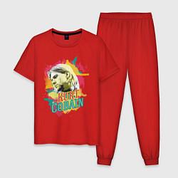 Пижама хлопковая мужская Kurt Cobain Paints цвета красный — фото 1