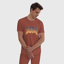 Пижама хлопковая мужская DOOM цвета кирпичный — фото 2