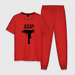 Пижама хлопковая мужская ASAP Gangster цвета красный — фото 1