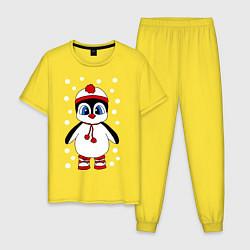 Пижама хлопковая мужская Пингвин в снегу цвета желтый — фото 1