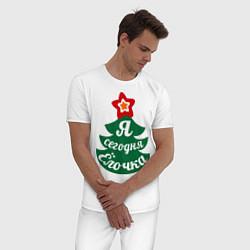 Пижама хлопковая мужская Я сегодня Ёлочка цвета белый — фото 2