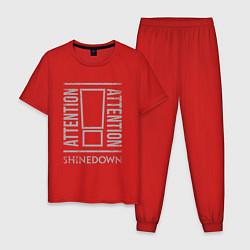Пижама хлопковая мужская Attention Shinedown цвета красный — фото 1