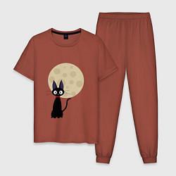 Пижама хлопковая мужская Лунный кот цвета кирпичный — фото 1