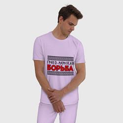 Пижама хлопковая мужская Греко-римская борьба цвета лаванда — фото 2