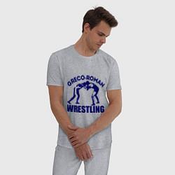 Пижама хлопковая мужская Greco-roman wrestling цвета меланж — фото 2