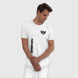 Пижама хлопковая мужская Green Day Style цвета белый — фото 2