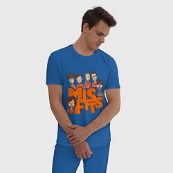 Пижама хлопковая мужская MisFits Heroes цвета синий — фото 2