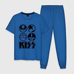 Пижама хлопковая мужская KISS Symbols цвета синий — фото 1