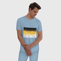 Пижама хлопковая мужская Имперский флаг пикселами цвета мягкое небо — фото 2