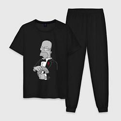 Пижама хлопковая мужская Дон Гомер цвета черный — фото 1