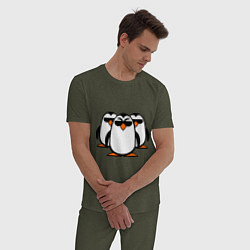 Пижама хлопковая мужская Банда пингвинов цвета меланж-хаки — фото 2