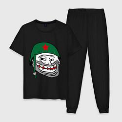 Пижама хлопковая мужская Троллфэйс в шлеме цвета черный — фото 1